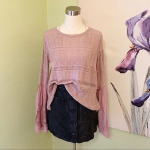 Altar'd State Bell Sleeve Pointelle Sweater Top
